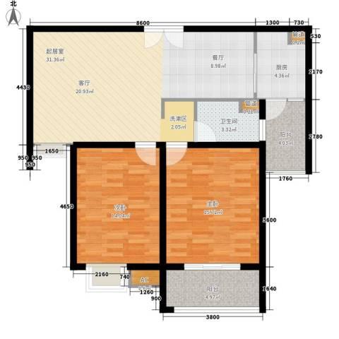 富顿街区2室0厅1卫1厨90.00㎡户型图