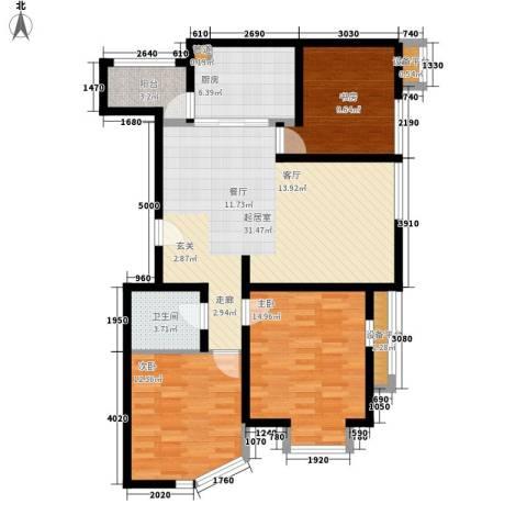 新天地公寓3室0厅1卫1厨96.98㎡户型图