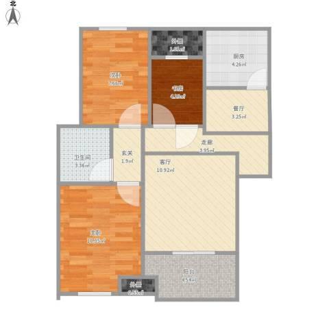 新城香悦半岛3室2厅1卫1厨79.00㎡户型图