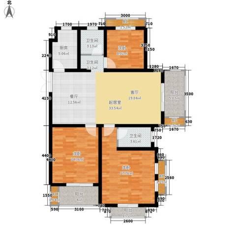 银河湾紫苑二期3室0厅2卫1厨145.00㎡户型图