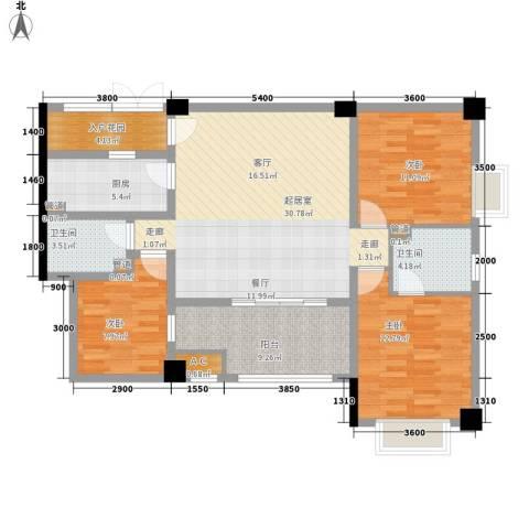 长安未来国际3室0厅2卫1厨125.00㎡户型图