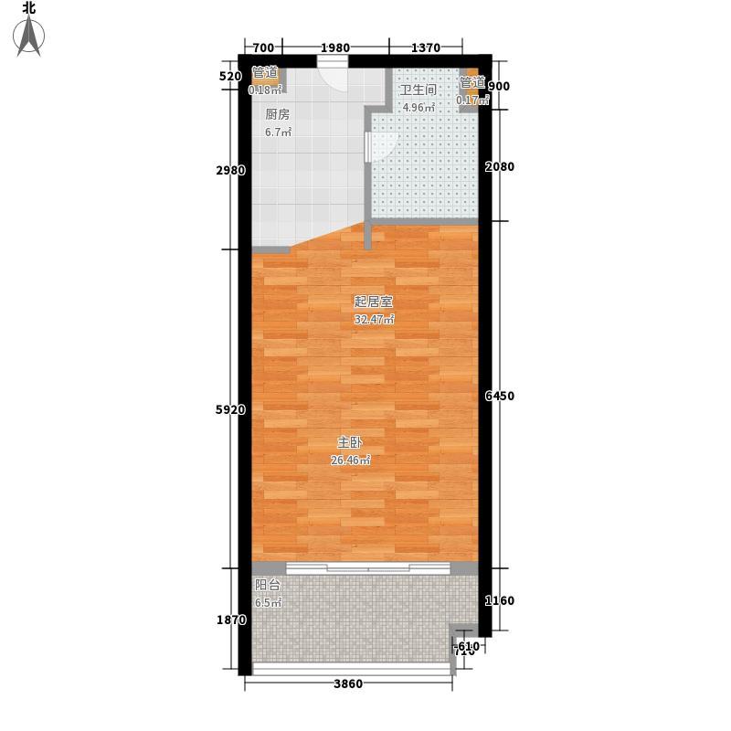 雅居乐月亮湾55.15㎡洋房A户型1室1厅
