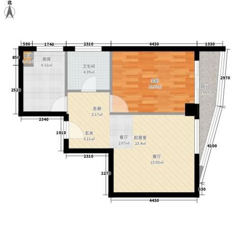 航天星苑1室0厅1卫1厨73.00㎡户型图