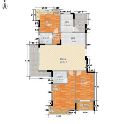 盈丰花园3室0厅2卫1厨160.00㎡户型图