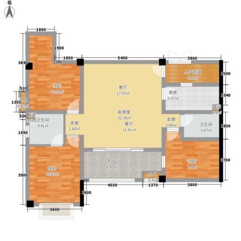 长安未来国际3室0厅2卫1厨133.00㎡户型图