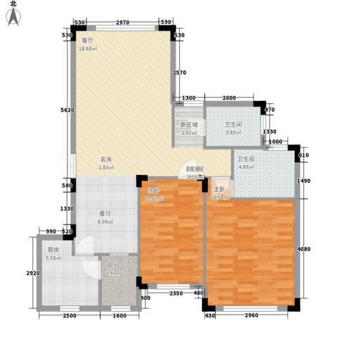 西南明苑2室0厅2卫1厨153.00㎡户型图