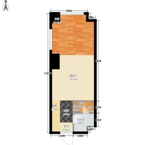 海信・龙奥九号1厅1卫0厨49.00㎡户型图