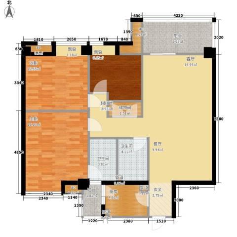 新北佳苑3室0厅2卫1厨122.00㎡户型图
