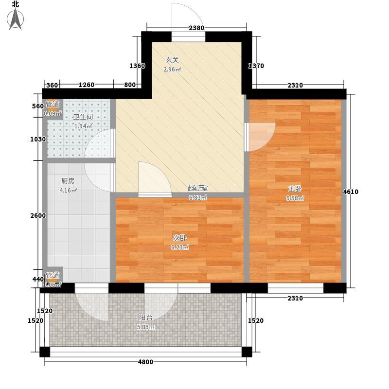 长禹嘉园二期:两室一厅43.59平方米户型2室1厅1卫1厨