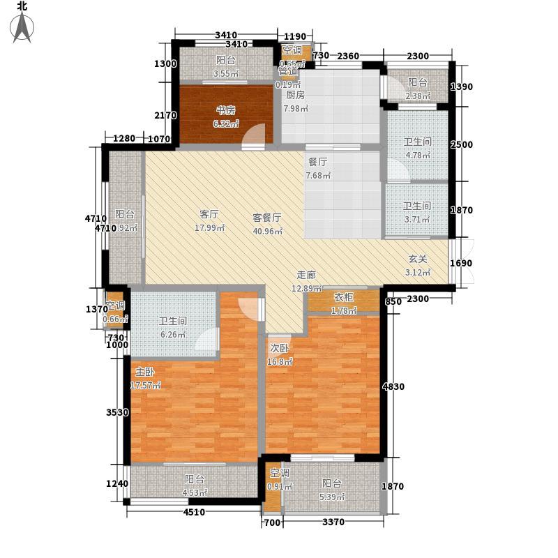 颐园世家14.77㎡一期2#B3户型3室2厅2卫1厨