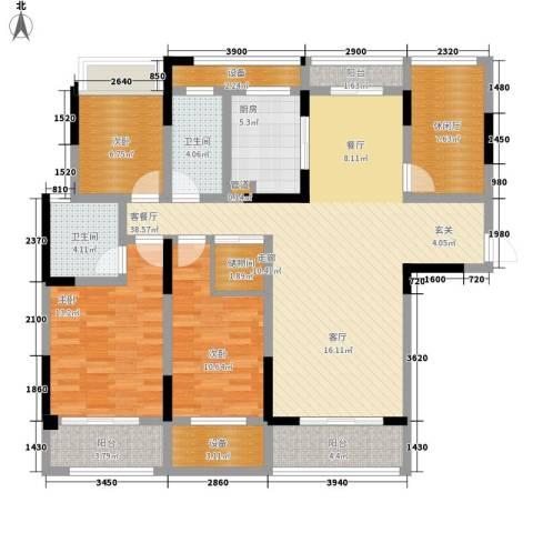 荣华世家3室1厅2卫1厨125.00㎡户型图