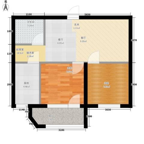 泰荣湾2室0厅1卫1厨67.00㎡户型图