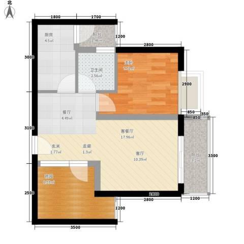 上河城1室1厅1卫1厨64.00㎡户型图