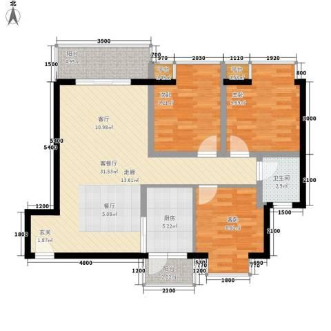 上河城3室1厅1卫1厨87.00㎡户型图