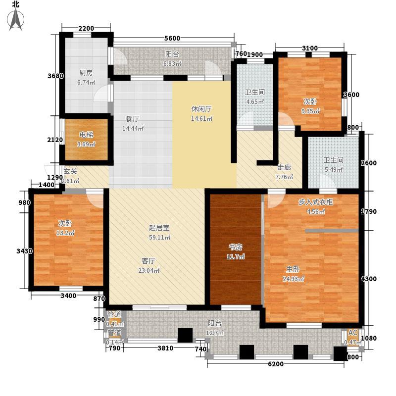 金泰舒格�183.00㎡洋房标准层中间户A5户型4室2厅2卫1厨