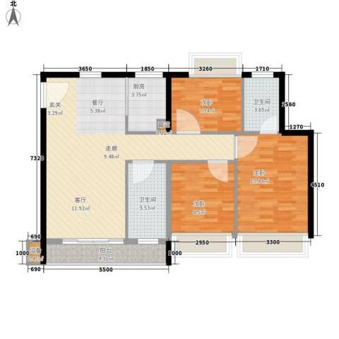 祥富花园3室0厅2卫1厨68.00㎡户型图
