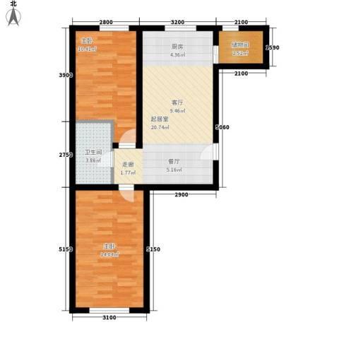 金碧家园2室0厅1卫0厨74.00㎡户型图