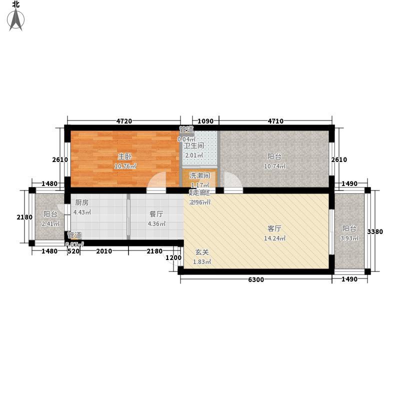 长禹嘉园二期:两室一厅68.51平方米户型2室1厅1卫1厨