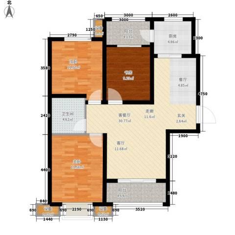 桃园丽�城3室1厅1卫1厨121.00㎡户型图