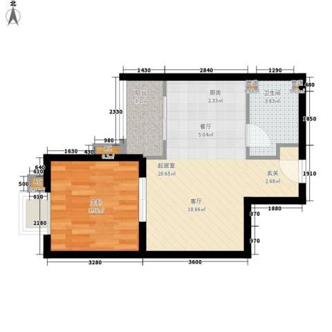 中信德方斯1室0厅1卫0厨43.00㎡户型图