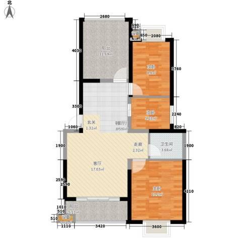 枫逸人家3室1厅1卫0厨89.00㎡户型图
