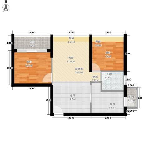 南方明珠花园二期2室0厅1卫1厨56.00㎡户型图