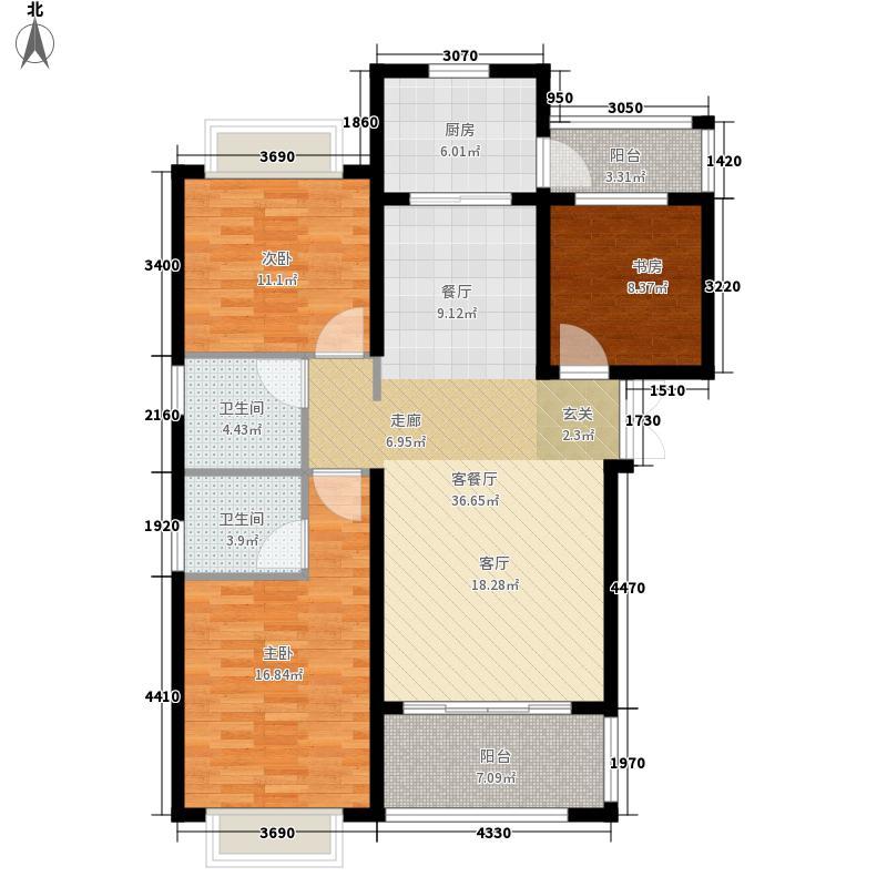 星洲国际111.00㎡二期高层E7户型3室2厅2卫1厨