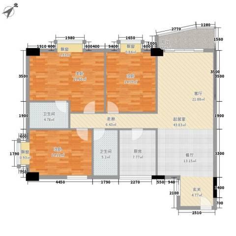 花园1号3室0厅2卫1厨113.90㎡户型图