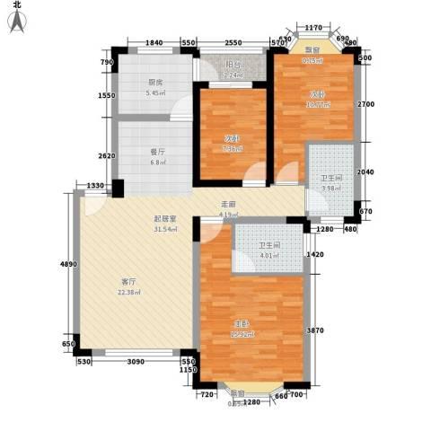 南方明珠花园二期3室0厅2卫1厨117.00㎡户型图