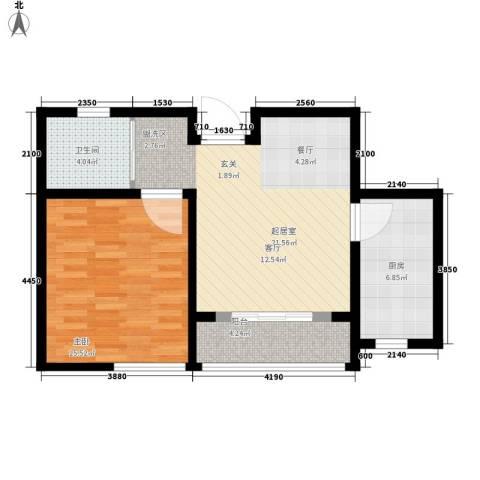 青年城1号1室0厅1卫1厨60.00㎡户型图