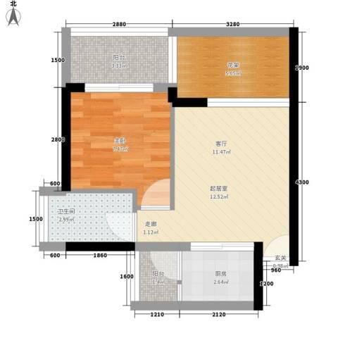 南方明珠花园二期1室0厅1卫1厨80.00㎡户型图