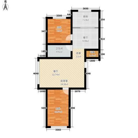 瀚邦文苑2室0厅1卫1厨105.00㎡户型图