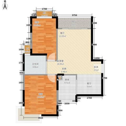青年城1号2室0厅1卫1厨85.00㎡户型图