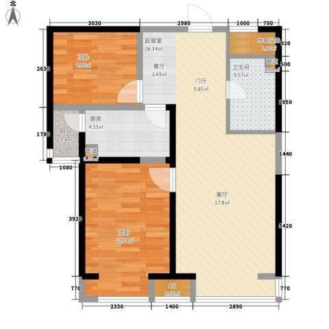 青年城1号2室0厅1卫1厨65.00㎡户型图
