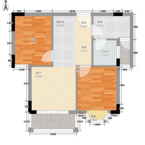 紫薇苑2室0厅1卫1厨70.00㎡户型图