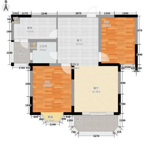 新地国际公寓御景2室0厅1卫1厨93.00㎡户型图