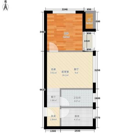 优活城1室0厅1卫1厨51.00㎡户型图