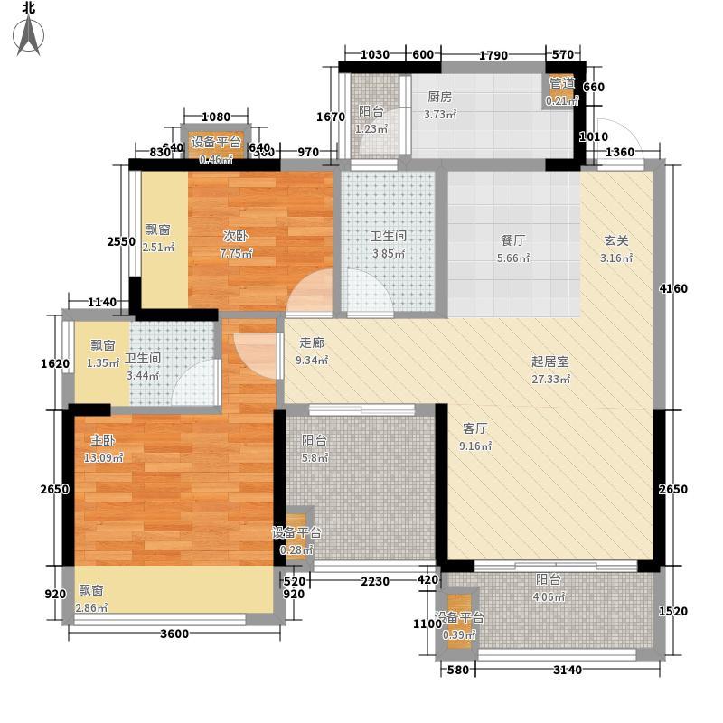 瀚林山水源88.00㎡5栋1-02户型3室2厅