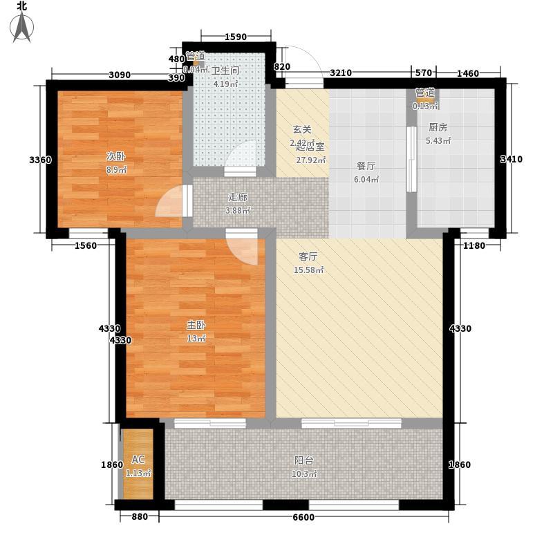 天湖・峰境85.00㎡1#楼B1户型2室2厅1卫1厨