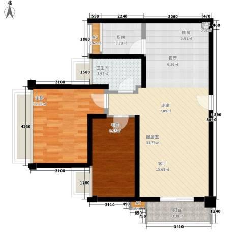 中信德方斯2室0厅1卫1厨77.00㎡户型图