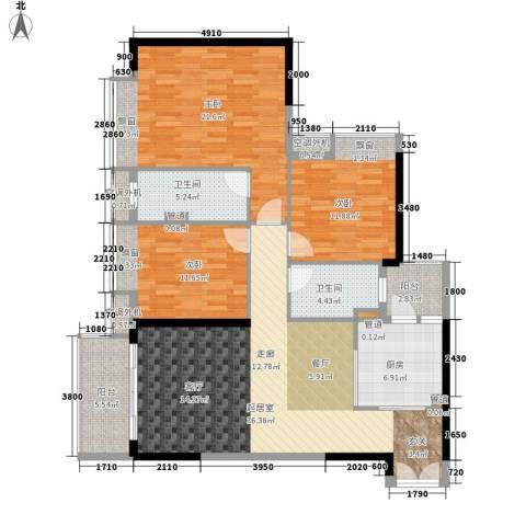 元邦明月水岸3室0厅2卫1厨119.00㎡户型图