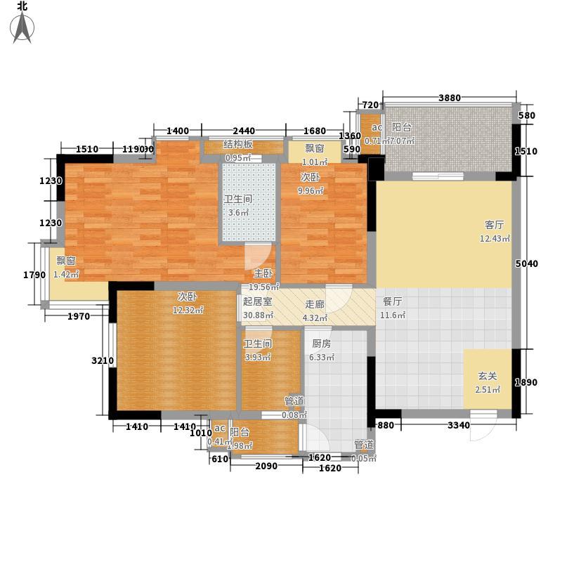 逸涛湾110.00㎡逸涛湾户型图A8-2-9层01单元3室2厅2卫1厨户型3室2厅2卫1厨