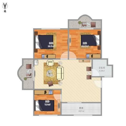 虹口玫瑰苑3室1厅1卫1厨93.00㎡户型图