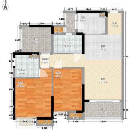 保利西雅图2室0厅2卫1厨92.00㎡户型图