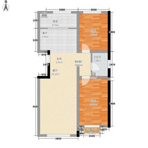 铭峰家苑2室1厅1卫1厨89.00㎡户型图