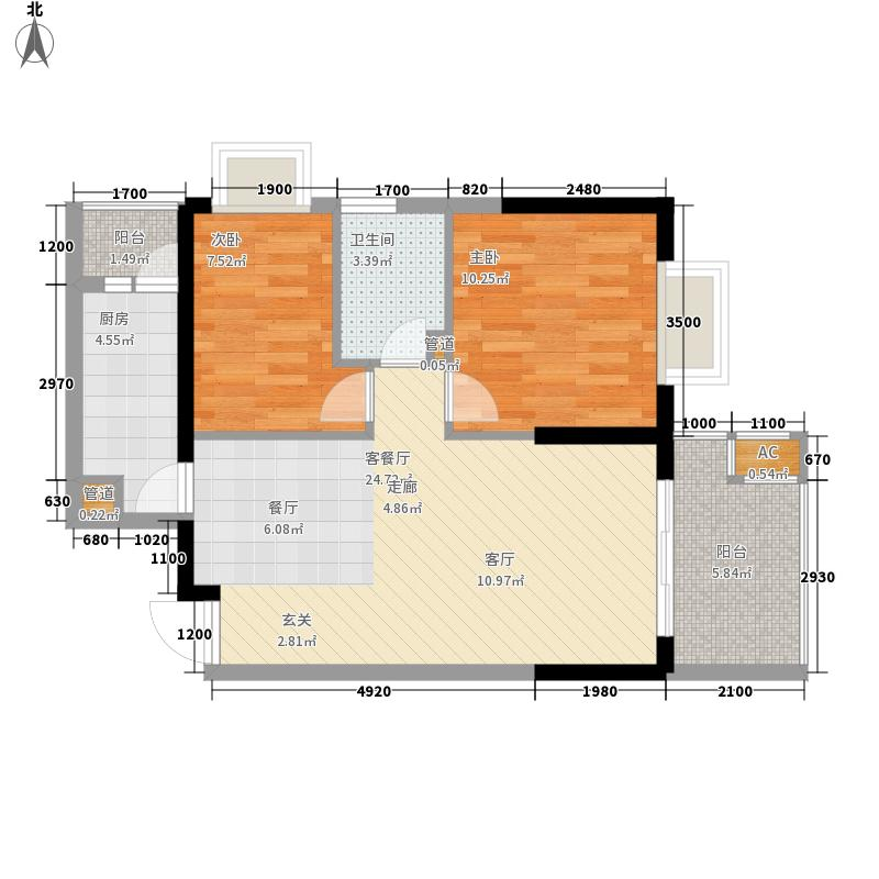 锦天国际77.41㎡锦天国际户型图G型2室2厅1卫1厨户型2室2厅1卫1厨