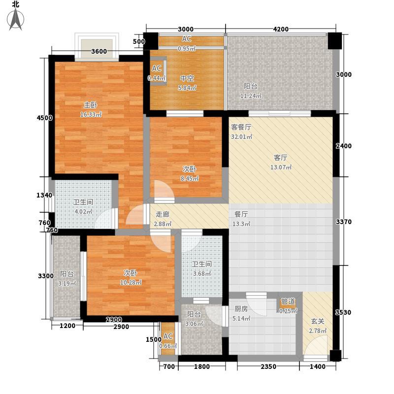 水映兰庭82.80㎡B-1型户型3室2厅2卫1厨