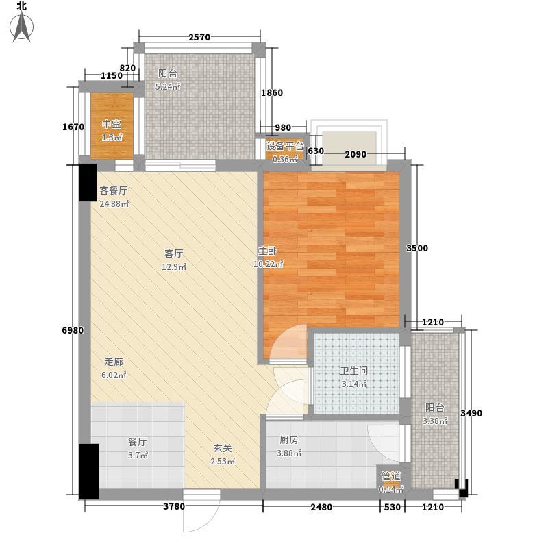 楠宝石58.46㎡B1型户型1室1厅1卫1厨
