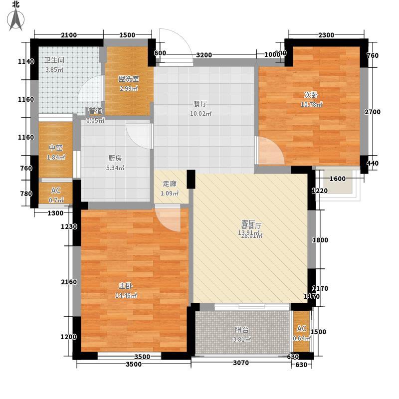 南北西岸89.00㎡9号楼B户型2室2厅1卫1厨