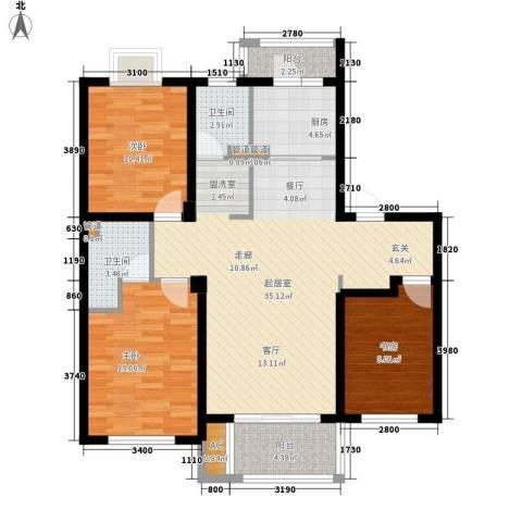 沿湖城3室0厅2卫1厨110.00㎡户型图
